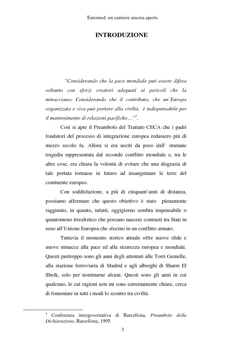 Anteprima della tesi: EUROMED: un cantiere ancora aperto, Pagina 1