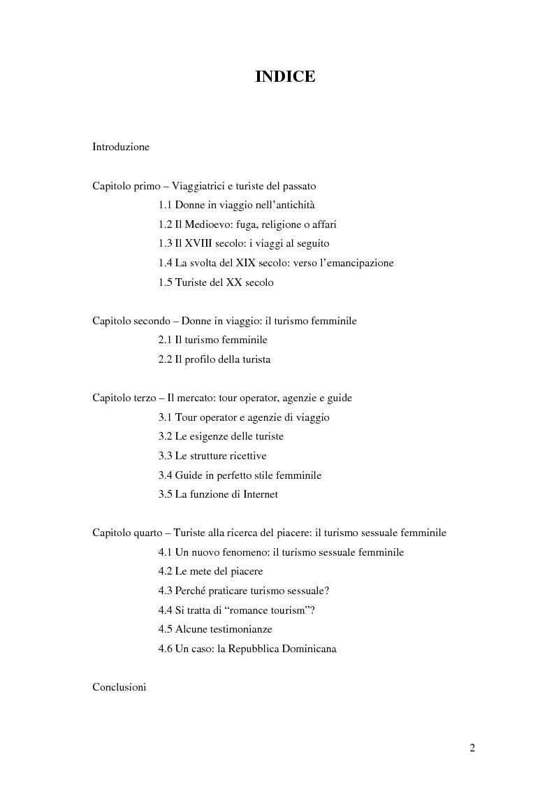 Indice della tesi: Turismo femminile: dalle viaggiatrici dell'antichità alle turiste sessuali di oggi, Pagina 1