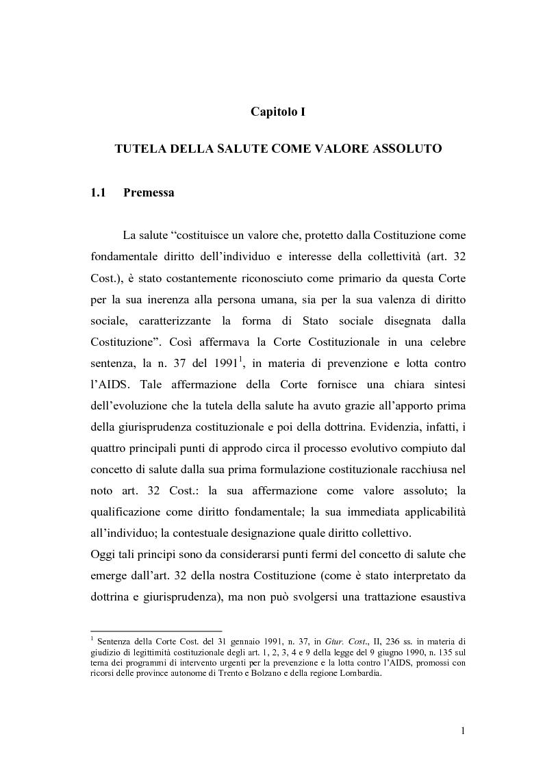 Anteprima della tesi: La salute come diritto fondamentale e interesse collettivo, Pagina 1