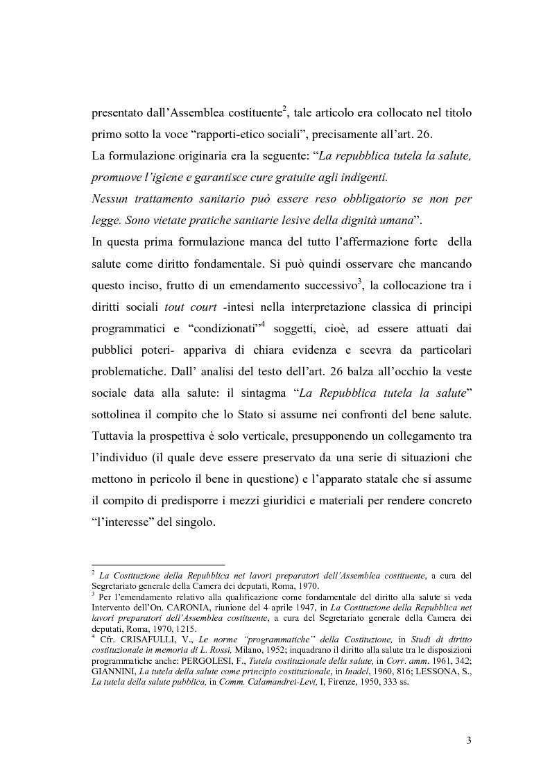 Anteprima della tesi: La salute come diritto fondamentale e interesse collettivo, Pagina 3