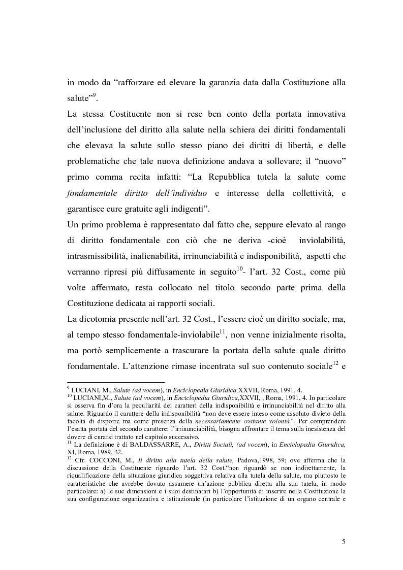 Anteprima della tesi: La salute come diritto fondamentale e interesse collettivo, Pagina 5