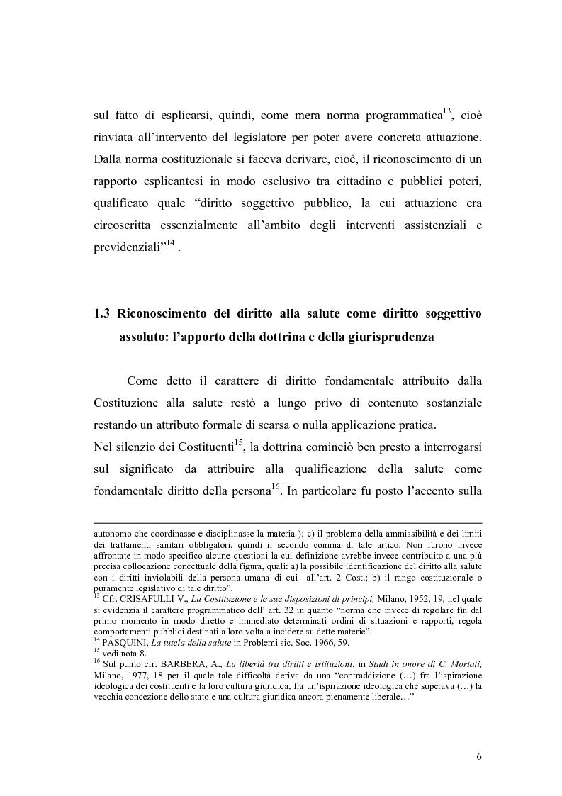 Anteprima della tesi: La salute come diritto fondamentale e interesse collettivo, Pagina 6