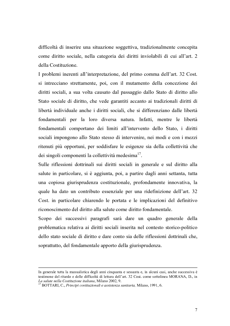 Anteprima della tesi: La salute come diritto fondamentale e interesse collettivo, Pagina 7