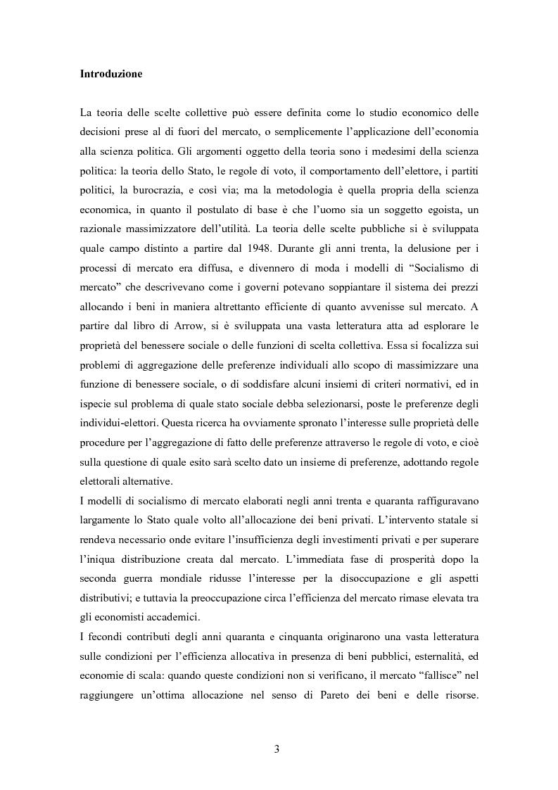 Anteprima della tesi: La teoria delle scelte collettive, Pagina 1