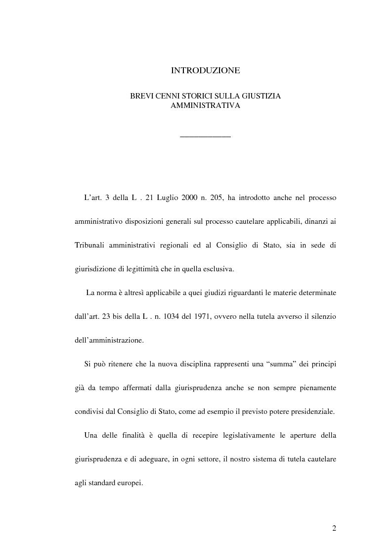 Anteprima della tesi: Le ordinanze cautelari atipiche nel nuovo processo amministrativo, Pagina 1