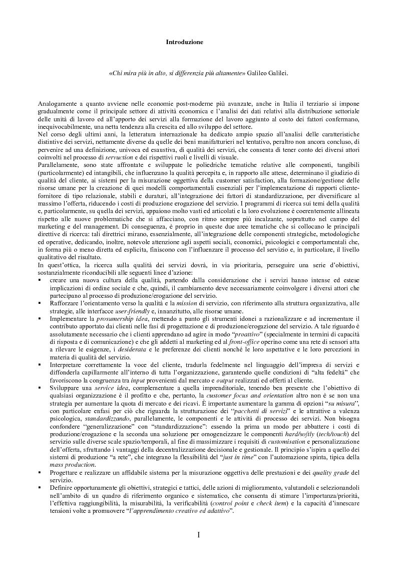 Anteprima della tesi: Il peso dell'intangibile. La gestione della qualità e la soddisfazione del cliente nelle aziende di servizi, Pagina 1