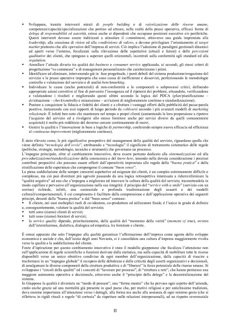 Anteprima della tesi: Il peso dell'intangibile. La gestione della qualità e la soddisfazione del cliente nelle aziende di servizi, Pagina 2