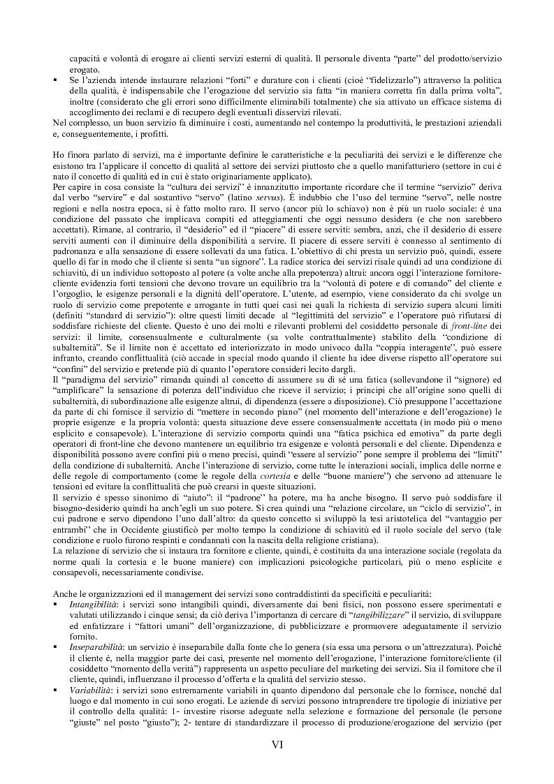 Anteprima della tesi: Il peso dell'intangibile. La gestione della qualità e la soddisfazione del cliente nelle aziende di servizi, Pagina 6