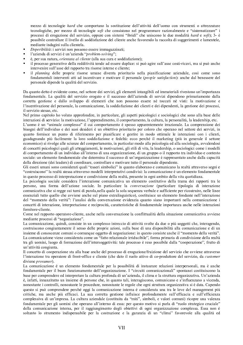 Anteprima della tesi: Il peso dell'intangibile. La gestione della qualità e la soddisfazione del cliente nelle aziende di servizi, Pagina 7