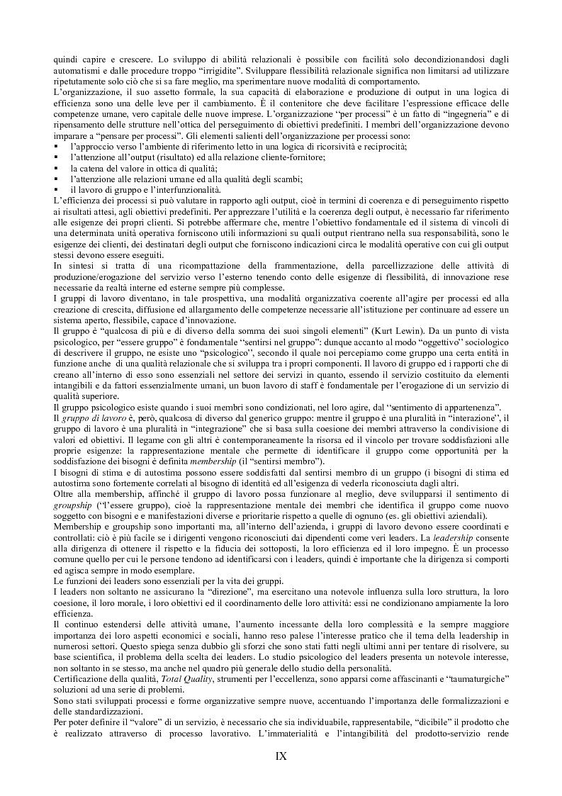 Anteprima della tesi: Il peso dell'intangibile. La gestione della qualità e la soddisfazione del cliente nelle aziende di servizi, Pagina 9