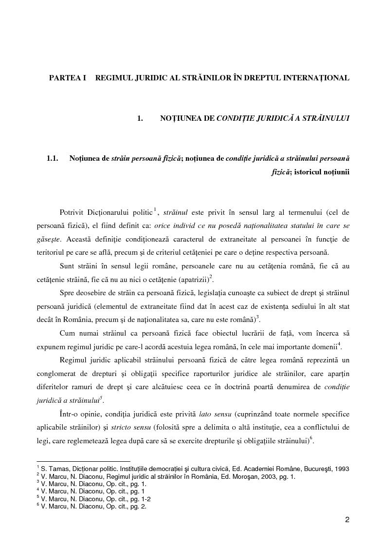 Anteprima della tesi: Regimul juridic al străinilor în dreptul internaţional si cel comunitar, Pagina 1