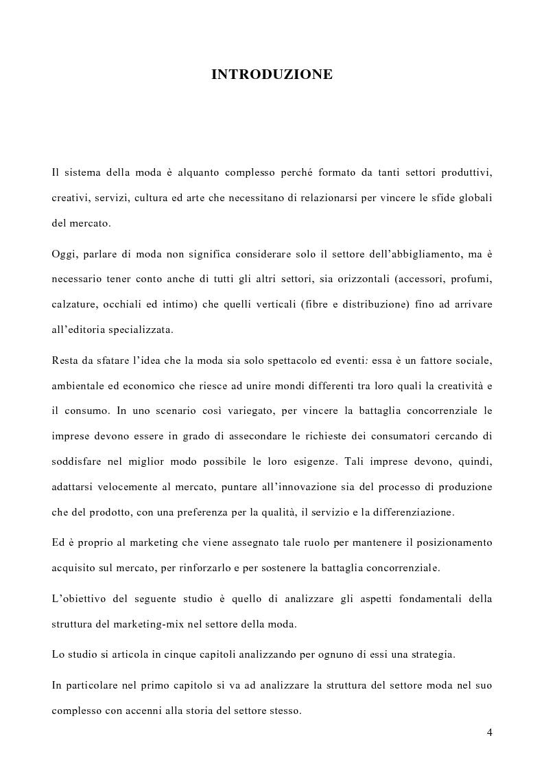 Anteprima della tesi: Le politiche di marketing nel settore moda, Pagina 1