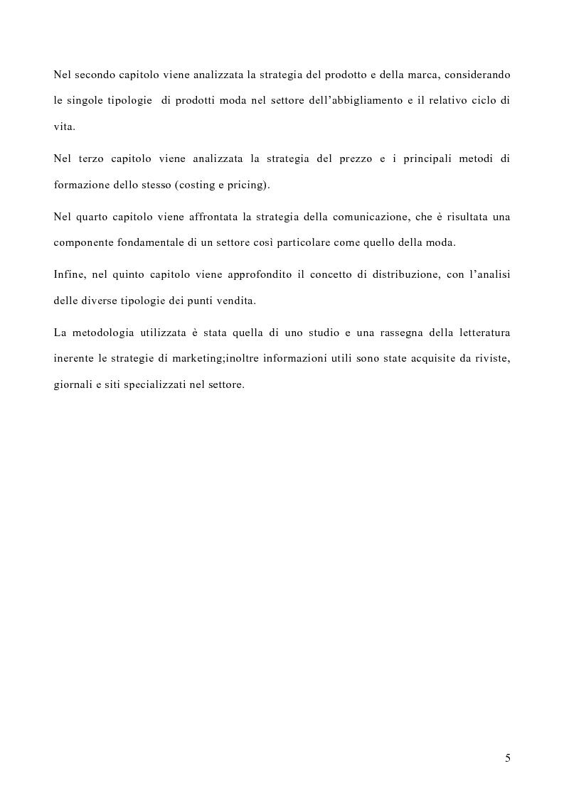 Anteprima della tesi: Le politiche di marketing nel settore moda, Pagina 2