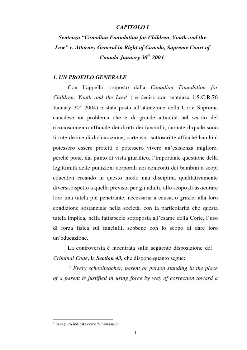 Anteprima della tesi: Lo ius corrigendi in una recente sentenza della Corte Suprema Canadese, Pagina 1