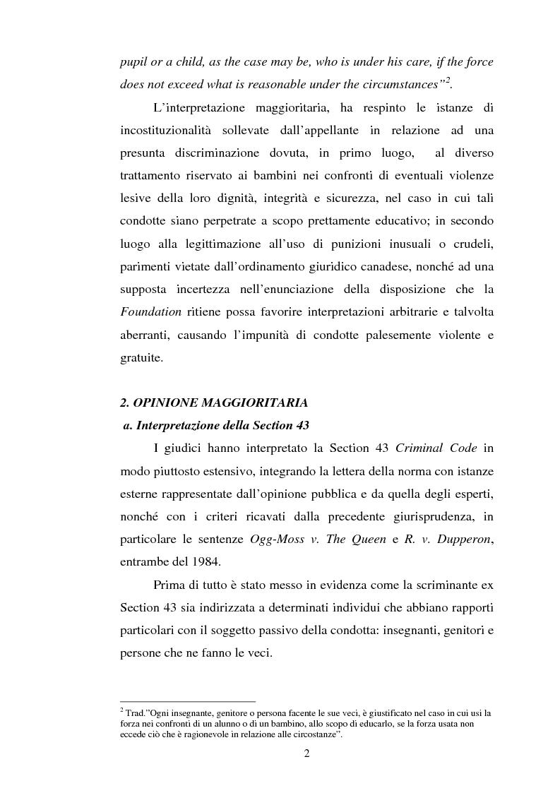 Anteprima della tesi: Lo ius corrigendi in una recente sentenza della Corte Suprema Canadese, Pagina 2