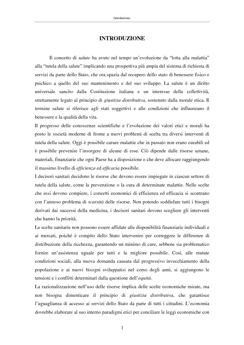 Anteprima della tesi: Il costo sociale delle patologie: il caso dell'obesità, Pagina 1