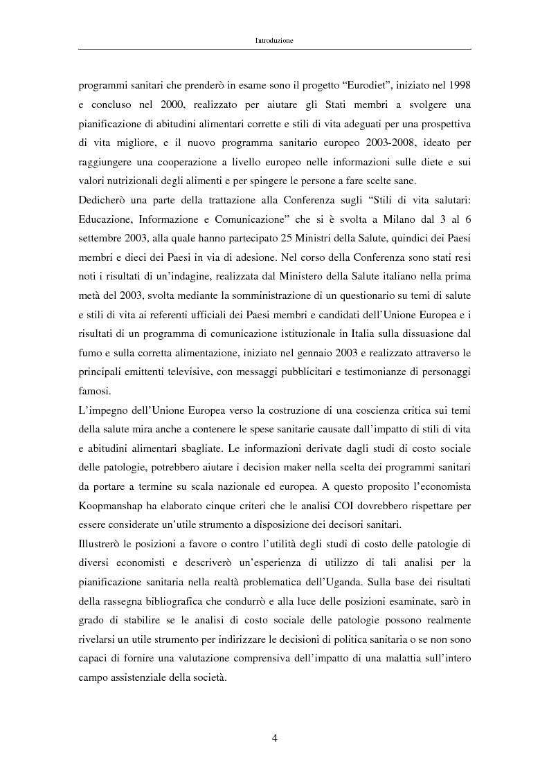Anteprima della tesi: Il costo sociale delle patologie: il caso dell'obesità, Pagina 4