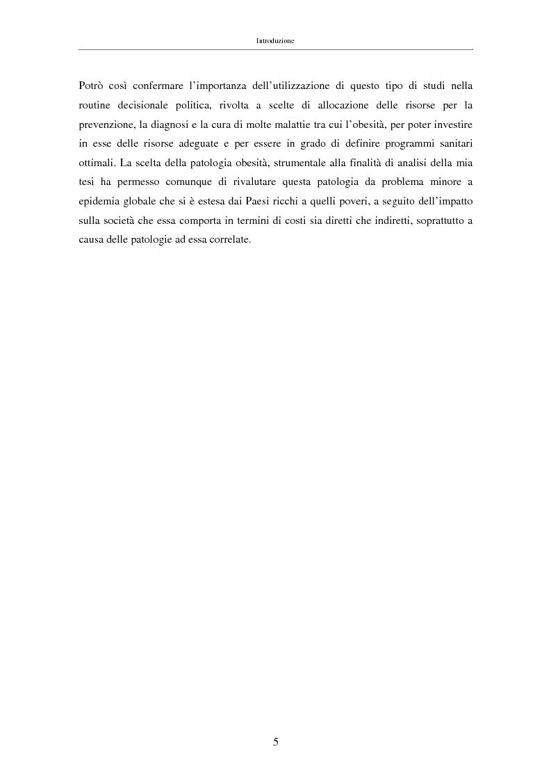 Anteprima della tesi: Il costo sociale delle patologie: il caso dell'obesità, Pagina 5
