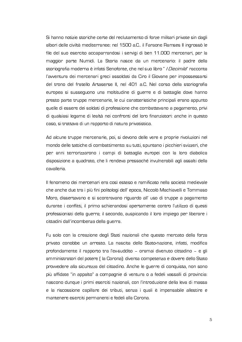 Anteprima della tesi: La Valenza delle Compagnie Militari Private nelle Aree di Crisi e di Conflittualità, Pagina 5