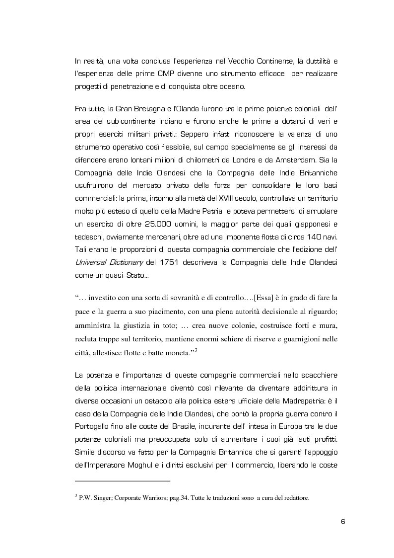 Anteprima della tesi: La Valenza delle Compagnie Militari Private nelle Aree di Crisi e di Conflittualità, Pagina 6