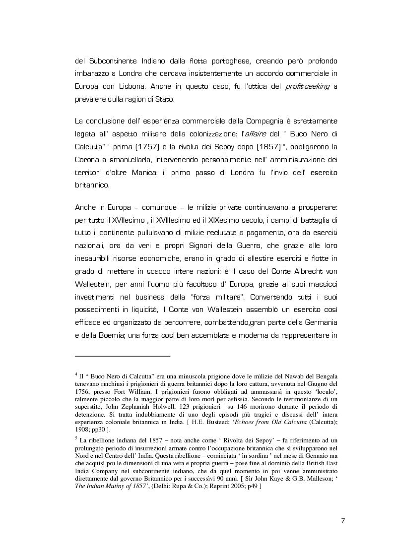Anteprima della tesi: La Valenza delle Compagnie Militari Private nelle Aree di Crisi e di Conflittualità, Pagina 7