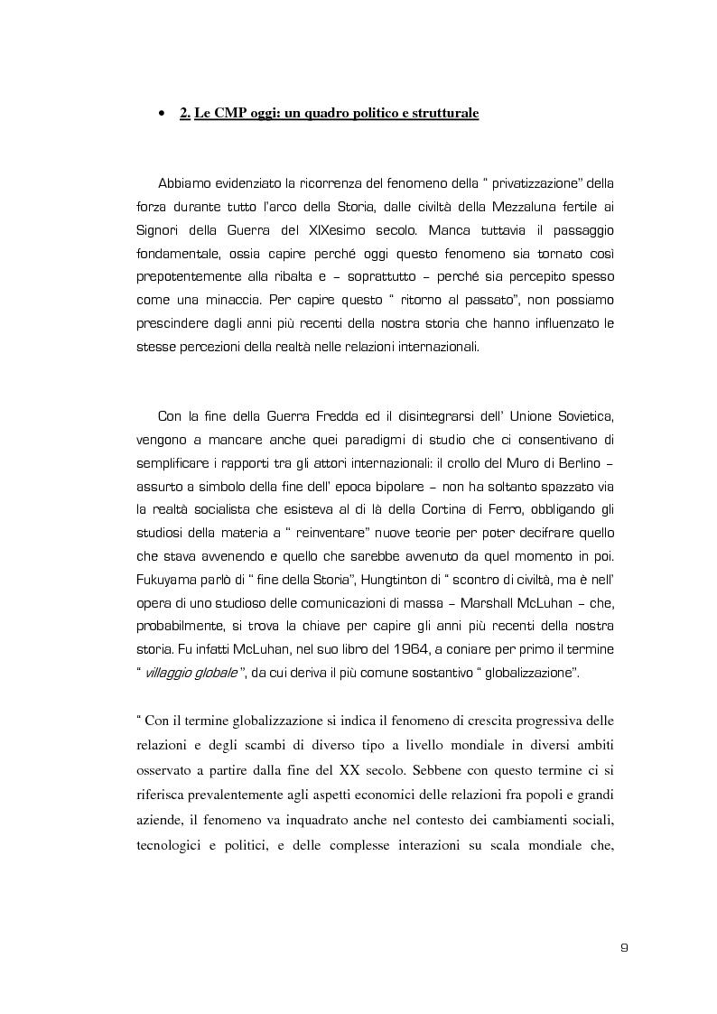 Anteprima della tesi: La Valenza delle Compagnie Militari Private nelle Aree di Crisi e di Conflittualità, Pagina 9