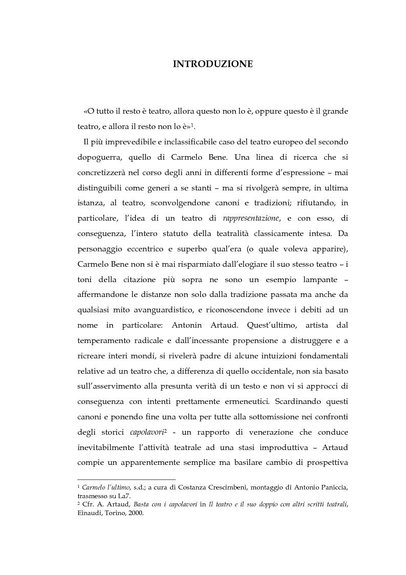 Anteprima della tesi: Il teatro della non-rappresentazione di Carmelo Bene. Contatti e divergenze con Antonin Artaud, Pagina 1