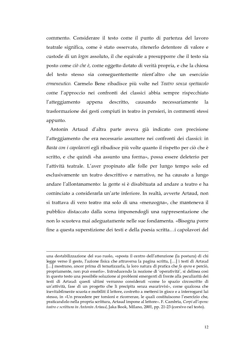 Anteprima della tesi: Il teatro della non-rappresentazione di Carmelo Bene. Contatti e divergenze con Antonin Artaud, Pagina 10