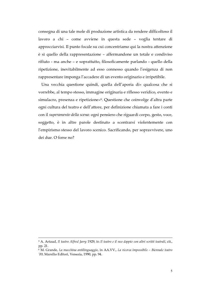 Anteprima della tesi: Il teatro della non-rappresentazione di Carmelo Bene. Contatti e divergenze con Antonin Artaud, Pagina 3