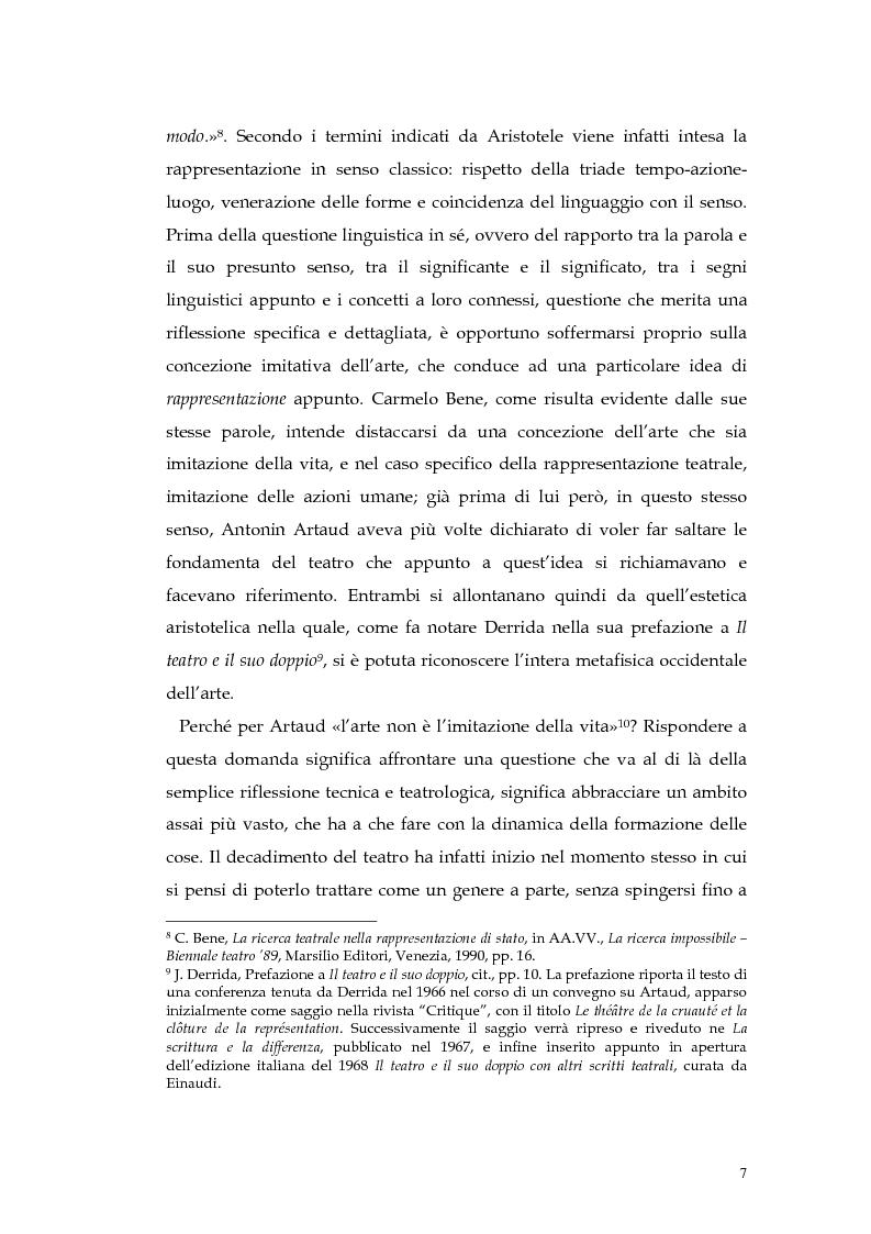 Anteprima della tesi: Il teatro della non-rappresentazione di Carmelo Bene. Contatti e divergenze con Antonin Artaud, Pagina 5