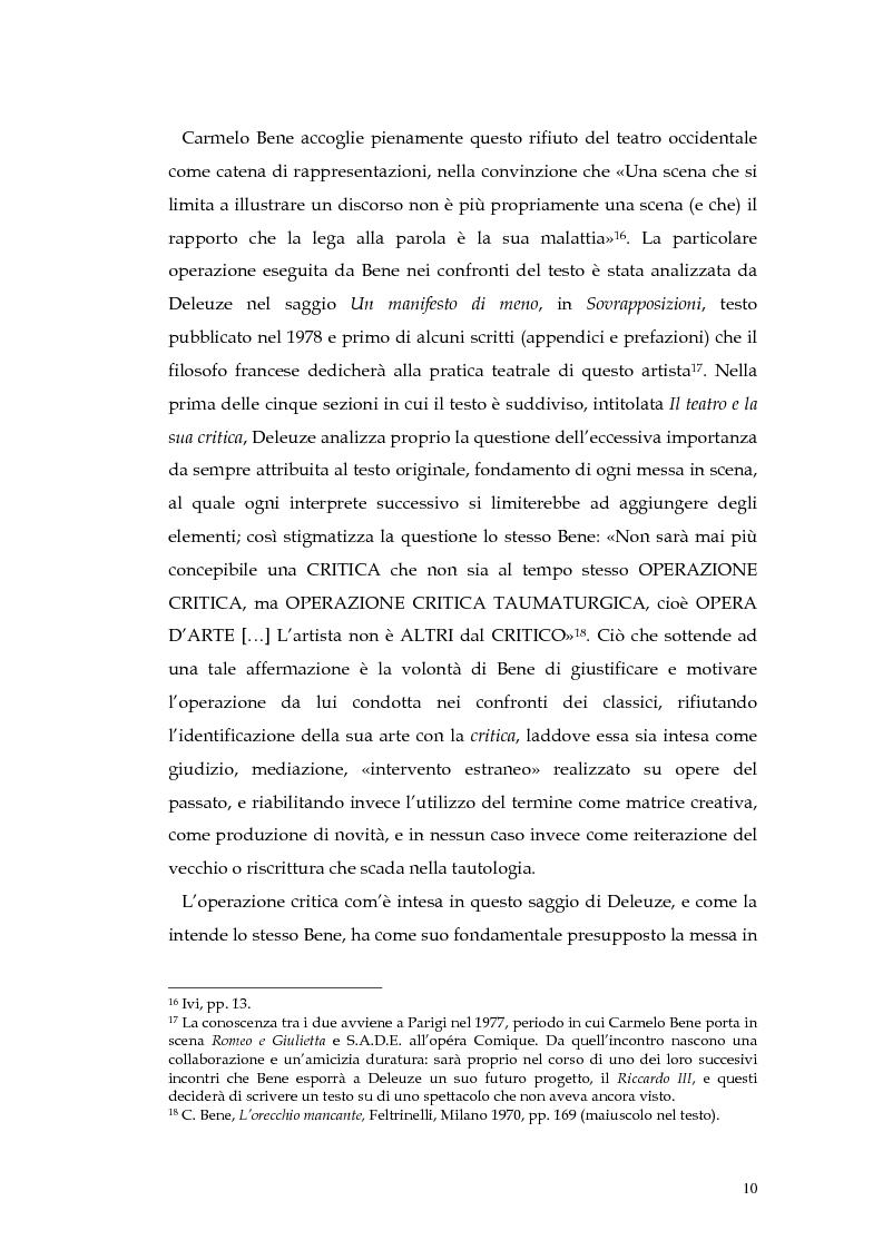 Anteprima della tesi: Il teatro della non-rappresentazione di Carmelo Bene. Contatti e divergenze con Antonin Artaud, Pagina 8