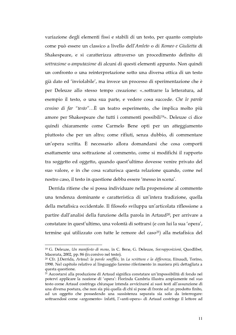 Anteprima della tesi: Il teatro della non-rappresentazione di Carmelo Bene. Contatti e divergenze con Antonin Artaud, Pagina 9