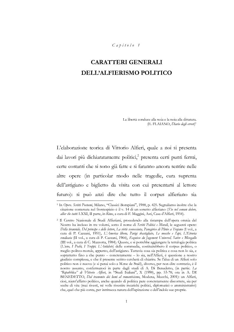 """Anteprima della tesi: """"Nel fango i vili intanto al suol conficco"""" - Vittorio Alfieri fra politica e letteratura, Pagina 1"""