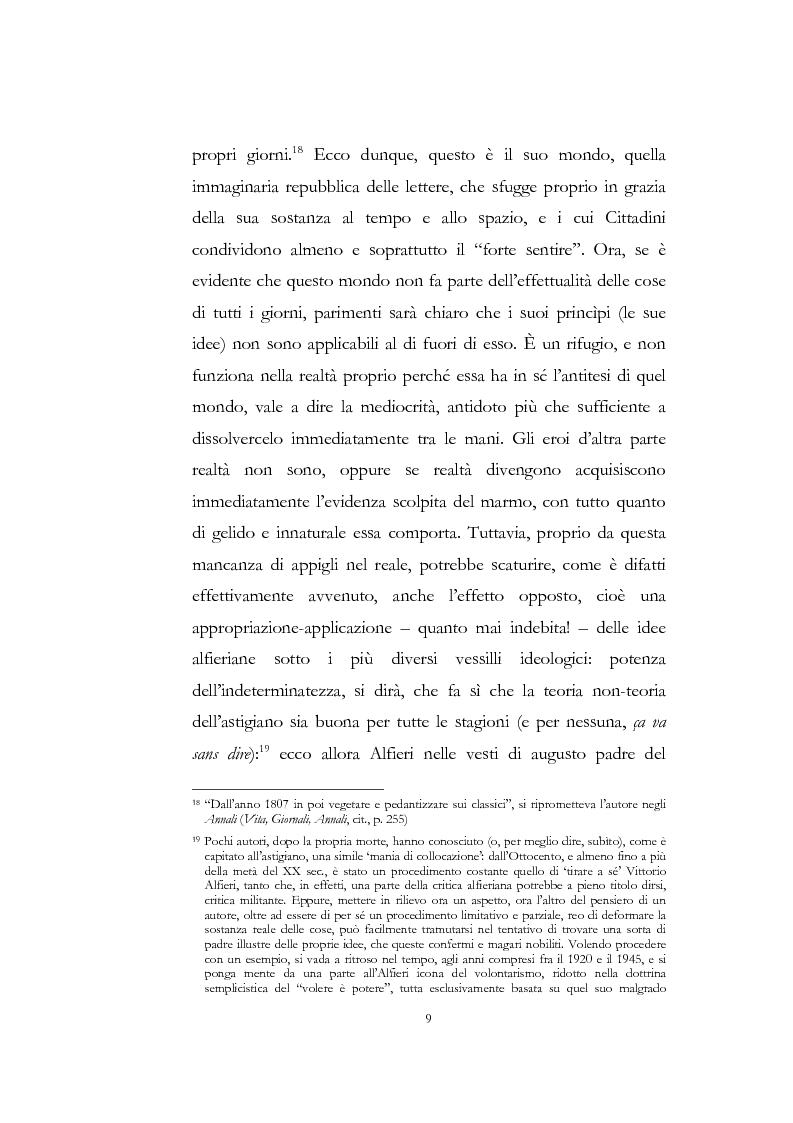 """Anteprima della tesi: """"Nel fango i vili intanto al suol conficco"""" - Vittorio Alfieri fra politica e letteratura, Pagina 9"""