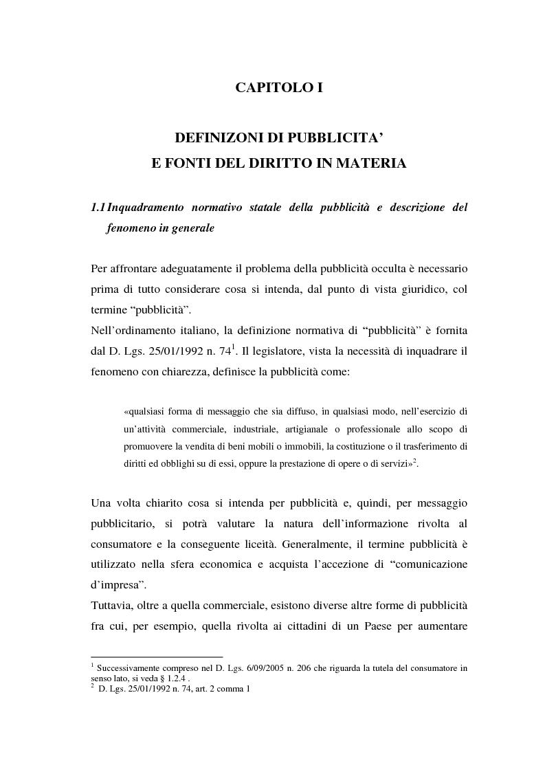 Anteprima della tesi: La repressione della pubblicità occulta, il caso Grazia firmato Armani, Pagina 1