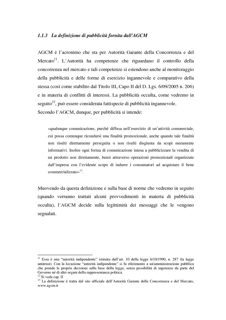 Anteprima della tesi: La repressione della pubblicità occulta, il caso Grazia firmato Armani, Pagina 4