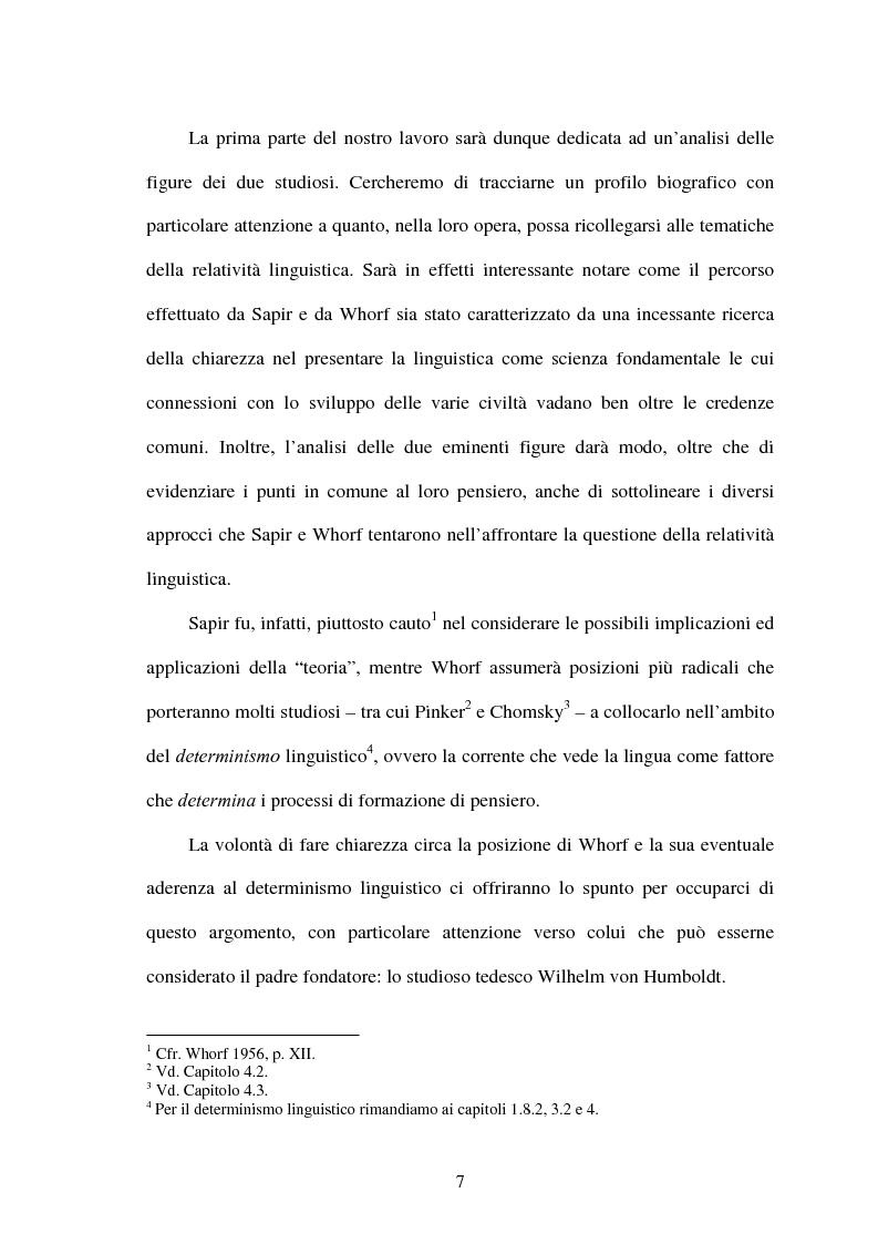 Anteprima della tesi: La relatività linguistica nella prospettiva di E. Sapir e B. l. Whorf, Pagina 2