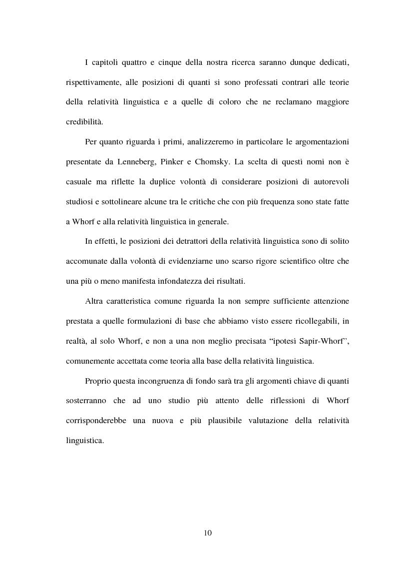 Anteprima della tesi: La relatività linguistica nella prospettiva di E. Sapir e B. l. Whorf, Pagina 5