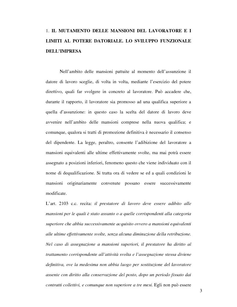La tutela della professionalit� del lavoratore - Tesi di Laurea