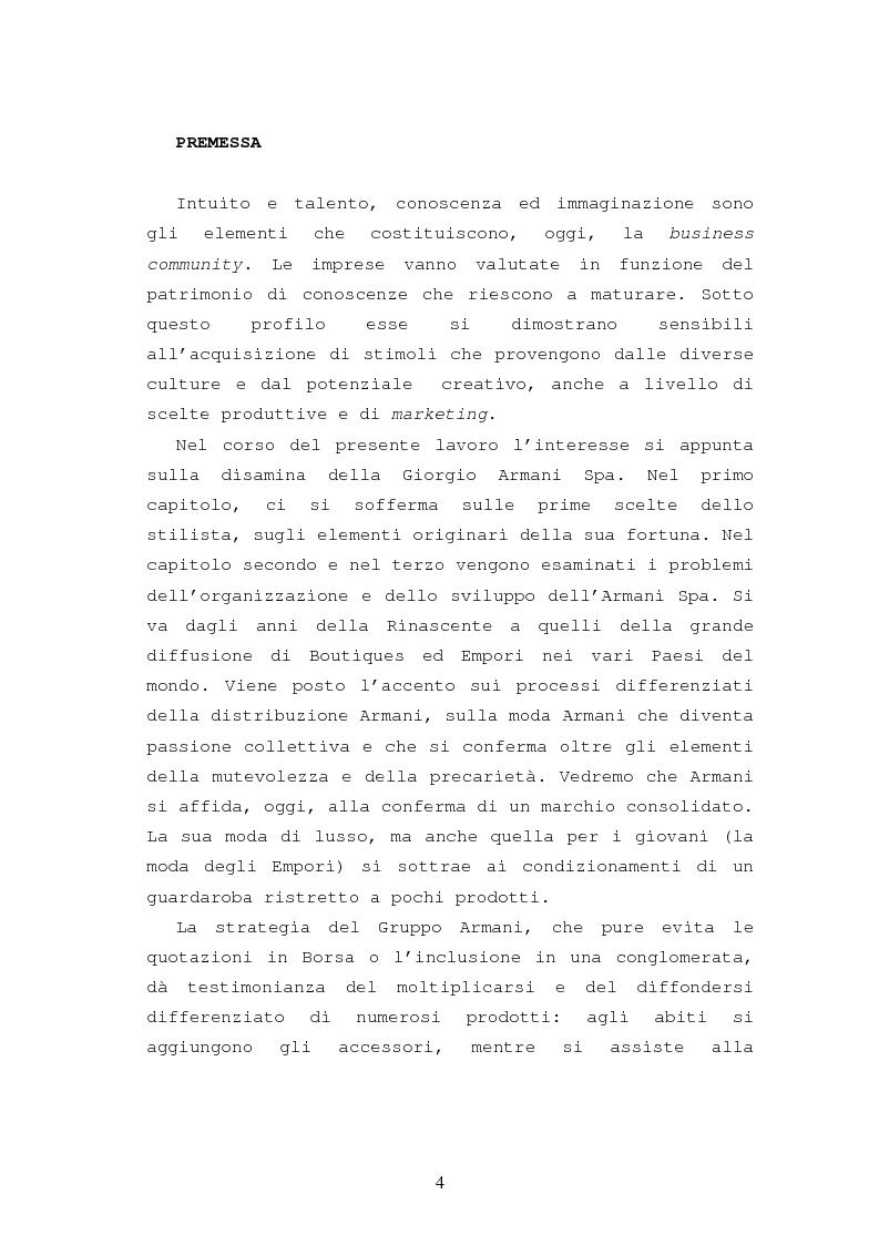 Anteprima della tesi: Il caso Armani. Stilista e imprenditore., Pagina 1