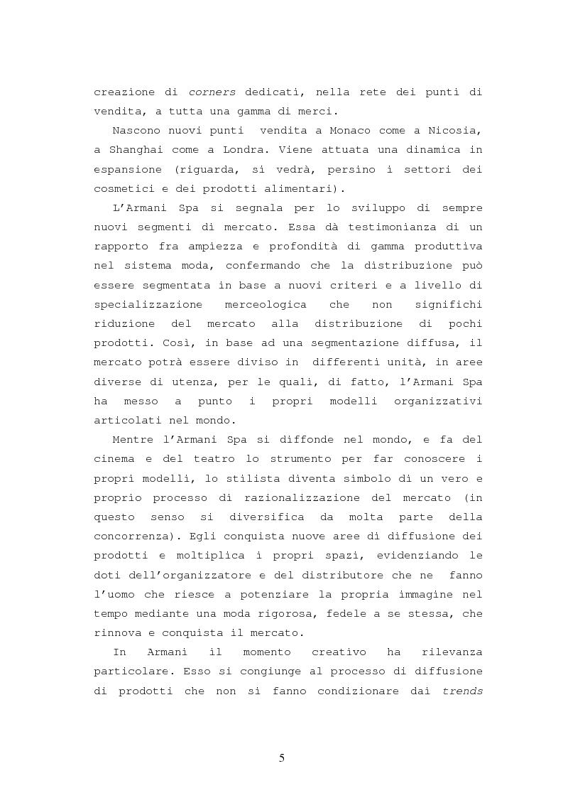 Anteprima della tesi: Il caso Armani. Stilista e imprenditore., Pagina 2