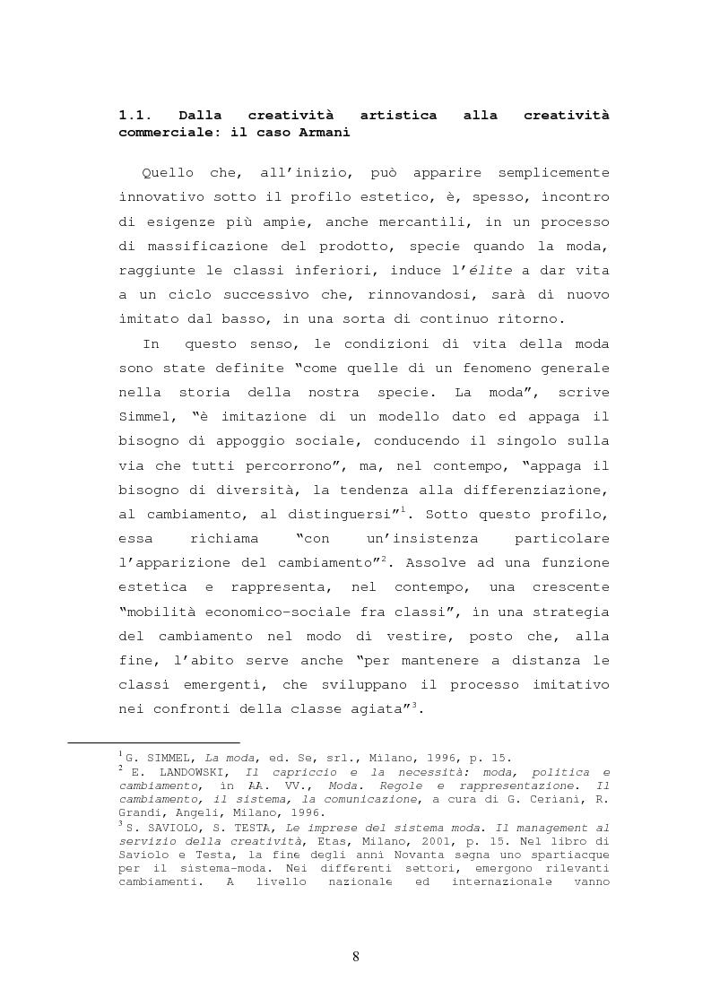 Anteprima della tesi: Il caso Armani. Stilista e imprenditore., Pagina 5