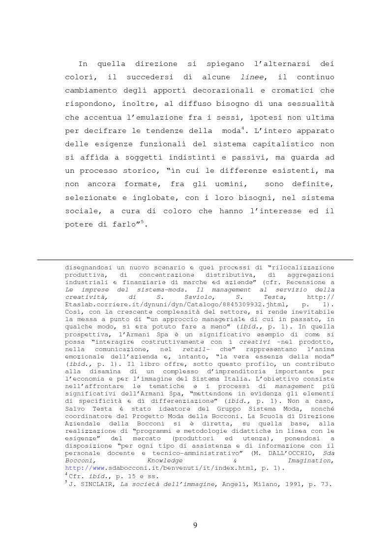 Anteprima della tesi: Il caso Armani. Stilista e imprenditore., Pagina 6