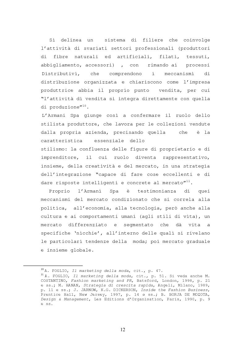 Anteprima della tesi: Il caso Armani. Stilista e imprenditore., Pagina 9