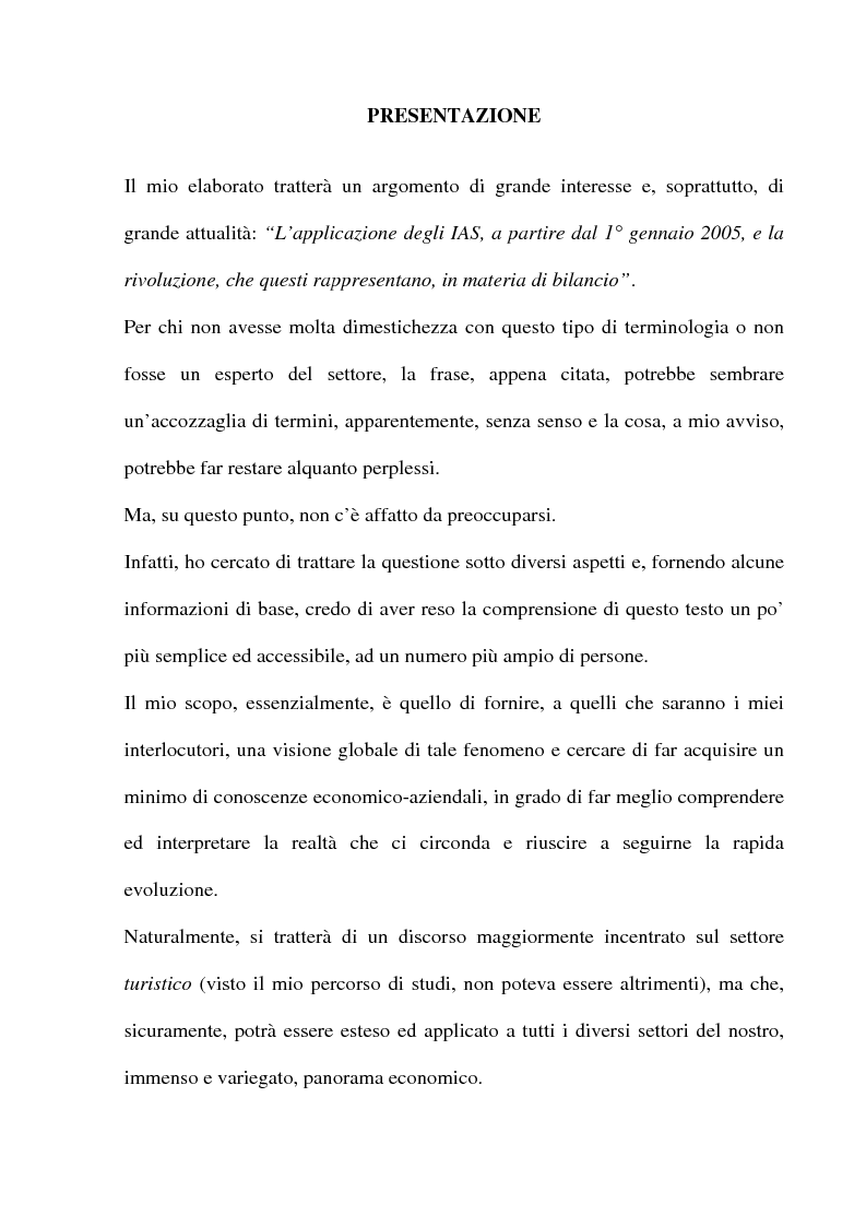 Anteprima della tesi: L'applicazione degli IAS alle aziende alberghiere, Pagina 1