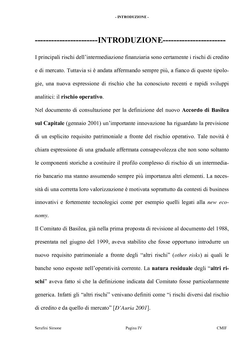 Anteprima della tesi: I rischi operativi, Pagina 1
