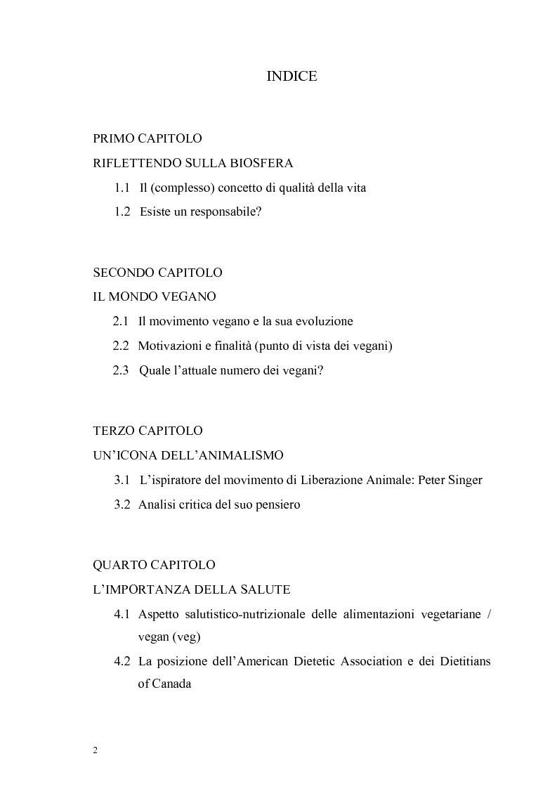 Indice della tesi: La scelta vegana e la nuova idea di rispetto della biosfera, Pagina 1