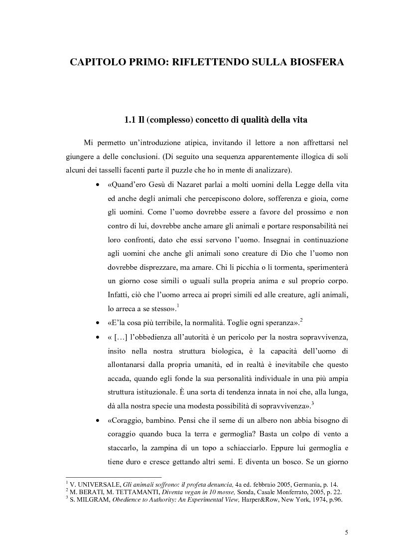 Anteprima della tesi: La scelta vegana e la nuova idea di rispetto della biosfera, Pagina 1