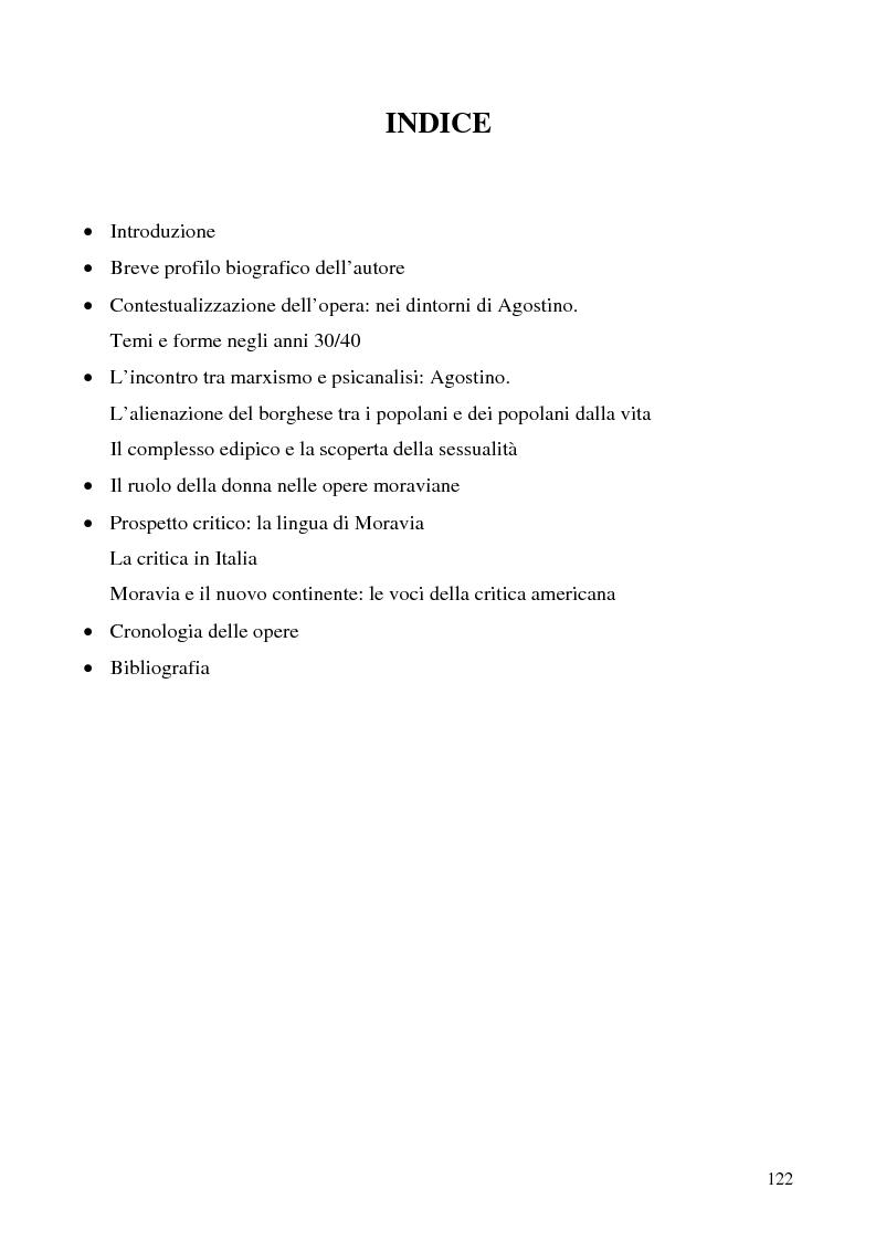 Indice della tesi: Agostino di Alberto Moravia, Pagina 1