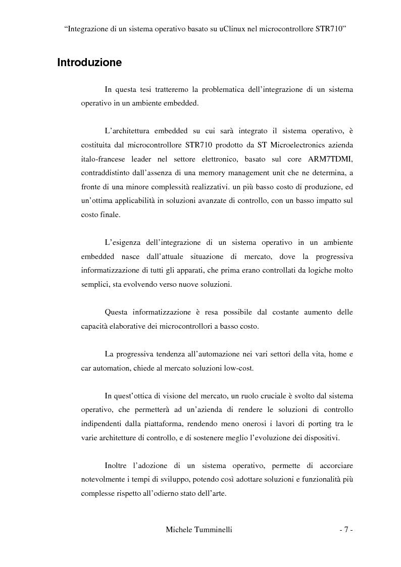 Anteprima della tesi: Integrazione di un sistema operativo basato su μClinux nel microcontrollore STR710, Pagina 2